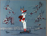 Warner Brothers Cel Bugs Bunny Baseball Bugs Signed by Friz Freleng Rare Cell