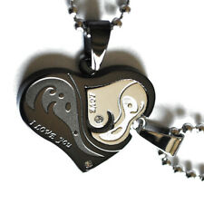 Partner Chain Puzzle Heart Stainless Steel 2 Trailer +2 I Love You Black