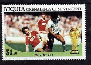 1986 FIFA World Cup MEXICO Bequia St. Vincent Grenadines Stamp USSR v ENGLAND