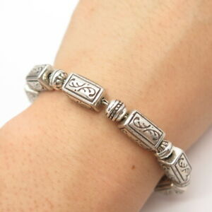 "Brighton Jewelry Silver-Tone Box & Bead Link Bracelet 8"""