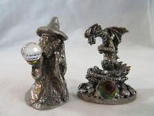 Vintage Decorative Collectibles Tudor Mint & Spoontiques Pewter Wizard & Dragon