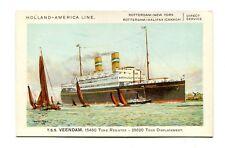 Vintage Postcard HOLLAND AMERIKA Cruise Line Ship TSS VEENDAM America