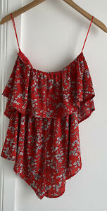Morning Mist Ladies Red Playsuit White Floral Design. As New Collect Or Post