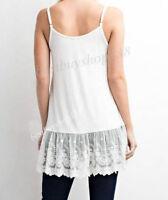 Womens Camisole Top Shirt Extender Cami Lace Trim Long Tank Top Slip Extends