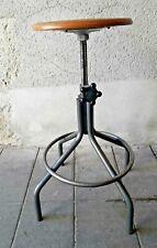 Tabouret industriel réglable bois et métal