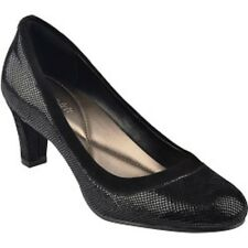 "Easy Spirit Airey black leather pump reptile print 2.5 "" heels sz 12 Med NEW"