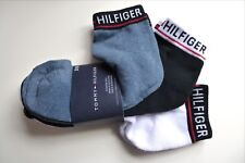 3 PAIRS : TOMMY HILFIGER Black White Cushioned Quarter Trainer Socks One Size