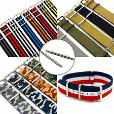 Military Style Watch Band Strap Webbing Canvas Thread Thru Plain, Striped & Camo