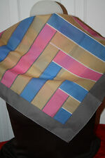 GREY, PINK AND TAN SCARF-EXC. COND. BY NORDISKA--GEOMETRIC DESIGN
