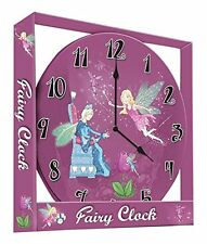 FAIRY WALL HANGING CHILDREN'S CLOCK - PINK (BEDROOM / NURSERY ROUND CLOCK)