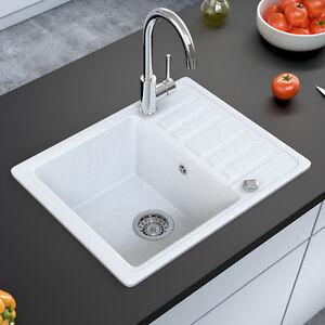 BERGSTROEM Évier de cuisine en granit encastré réversible 575x460 blanc