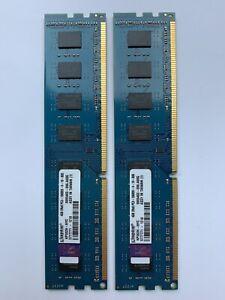 Lot of 2 modules x4GB Kingston PC3-10600 2Rx8 Desktop Memory DIMM Ram
