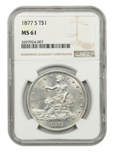1877-S Trade$ NGC MS61 - Great Type Coin - US Trade Dollar - Great Type Coin