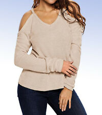 Women's Cold Open Shoulder Loose-Fit Lightweight Knit Top - Apricot - L