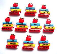 SCHOOL EDUCATION TEACHER FLATBACKS - YOU GET 10 - ART MATH READING WITH APPLE