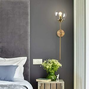 "Modern Decor Glass Globe Wall Sconce Light Brushed Gold Wall Mount 24"" Long Arm"