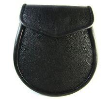 Kilt Daywear Regimental Style Simplistic Sporran In Black Leather For Kilts PL10