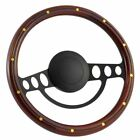 14 Black Steering Wheel With Mahogany Wood Grip And Bronze Rivets - 9 Hole