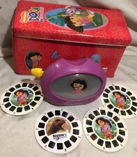 Dora The Explorer VIEW MASTER Viewer w/ Storage Tin & 3-Reel Disk Set A - B - C