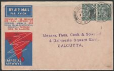 1933 FIRST AIR MAIL LONDON TO CALCUTTA INDIA ILLUSTRATED COVER 2 8d RATE