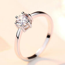 Verlobungsring klassisch echt Sterling Silber 925 Solitär Zirkonia Damen