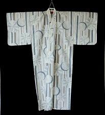 Japanese Men's Yukata Kimono Robe 100% Cotton Cream Grey T207