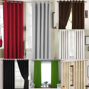 Thermal Blackout Blockout Eyelet RING TOP Door Curtain 66 x 84+Free Tie Back UK