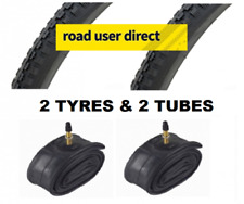 2 x 26x1 3/8 Black Tyres & 2 x Inner Tubes - Presta Valves - Free Delivery