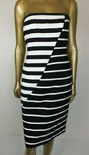 G2 by  GEORGE GROSS DRESS : STRAPLESS : BLACK & WHITE STRIPED : BONED : 12