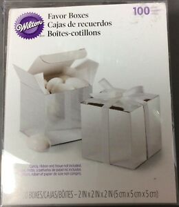 Wilton 415-0520 Silver Square Wedding Favor Box Kit 98 Count - New damaged box