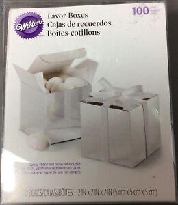 Wilton 415-0520 Silver Square Wedding Favor Box Kit 98 Count - New damaged box