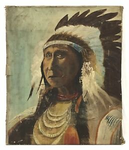 Antique Oil Painting On Canvas Native American Indian Chief - For Restoration