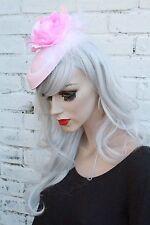 ROSA Fiore Mini Cappello Anni'50 Stile Pinup Rockabilly BRIDAL PASTELLO RAZZE