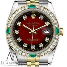 Ladies Rolex 31mm Datejust 2 Tone Red Vignette Emerald Dial with Diamond Accent