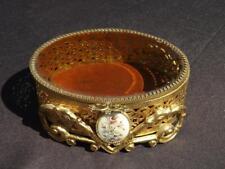 Trinket Casket Box Cameo Filigree Ormolu Hollywood Regency