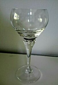 """Rare Mikasa Flower Song Hand-blown Crystal 7"""" White Wine Glass w/ Bubble Bowl"""