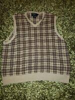 Polo Ralph Lauren Plaid Sweater Vest Tan Brown Linen Cotton Silk - Men's Size XL