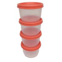 Tupperware Snack Cups 4914B Peach Set of 4