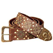 Medieval Leather and Brass Belt, 70 Inch, Pirate, Steampunk, LARP, Royalty, GOT