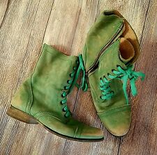 Women's STEVE MADDEN Troopa Light Green Lea Distressed Laced Boots size 10M