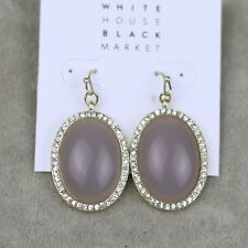 WHBM jewelry gold plated drop dangle resin cut crystal oval earrings fish hook
