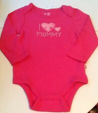 NEW BABY GAP PINK ONE PIECE LONG SLEEVE SHIRT SIZE 6 12 MONTHS I LOVE MOMMY