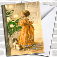 Girl & Dog Vintage Traditional Personalised Christmas Card