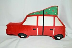 "PLUSH Holiday CHRISTMAS Pillow Car with TREE on TOP 19"" Red GREEN Gift SNUGGLE"