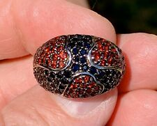 MK Jewelry Sterling Silver Dome Ring Red Garnet Hearts Black Onyx Faceted Stones
