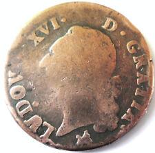 LOUIS XVI.SOL A LECU .1791 .B. ROUEN .CUIVRE OU METAL DE CLOCHE .29.6 MM