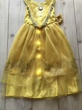 Beauty and Beast Belle Golden Costume Disney Light Up Musical Age 9/10 Years NEW
