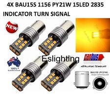 4 X 12v Bau15s 15 LED Yellow Indicator Turn Signal Car Ute 4wd Light Bulb Globe