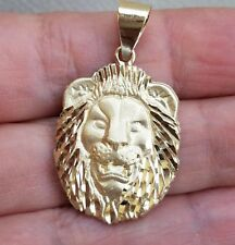 Real 14k Yellow Gold lion Pendant charm 1.25 inch long