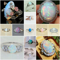 925 Silver Multi-color Opal Ring Women Wedding Engagement Jewelry Gift Size 6-10